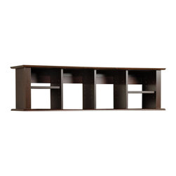 "Prepac - ""Prepac Wall Mounted Desk Hutch, Espresso"" - ""Add storage space right where you need it with the Wall Mounted Desk Hutch. With its unique design and our innovative two-piece hanging rail system, this hutch has ample space for workspace necessities that just don't fit in your desk. Adjust the four shelves to accommodate books, binders, disks or even decorative items. This piece is a simple way to double your desk's storage without taking up valuable floor space.  Finished in durable rich espresso laminateEasy to install two-piece hanging rail system includedConstructed from CARB-compliant, laminated composite woods Ships Ready to Assemble, includes an instruction booklet for easy assembly and has a 5-year manufacturer's limited warranty on partsAssembled Dimensions: 48""""W x 13""""H x 11.5""""DInternal Dimensions: 9.75""""W x 12.25""""H x 9.75""""D (each cubbie)Proudly manufactured in North America  Total Weight Capacity: 40 lbs per shelf = 160lbs"""