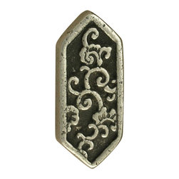 Anne At Home - 6 - Sided Asian Knob (Set of 10) (Verdigris) - Finish: Verdigris. Hand cast and finished. Made in the USA. Pewter with brass insert. Collection: Asian. 1.25 in. L x 0.5 in. W x 0.75 in. H