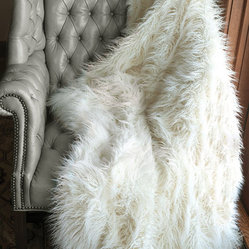 Ivory Mongolian Lamb Faux Fur Signature Series Throw Blanket