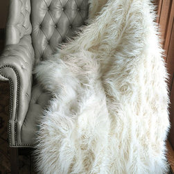 Ivory Mongolian Lamb Faux Fur Signature Series Throw Blanket - This Mongolian lamb throw looks so real, yet it's faux! It's a great accessory for adding texture to any space.