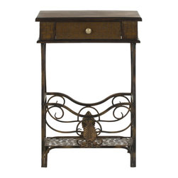 Safavieh - Margaret End Table - The feminine Margaret End Table's solid birch construction and decorative iron scroll base with intricate leaf accents make it a classic addition to any bedroom.