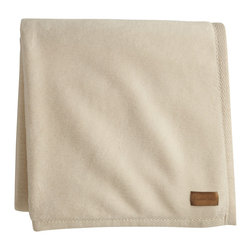 Peacock Alley - All Seasons Blanket, Natural, Throw - Planet-friendly has never been so plush! Woven of 100 percent Egyptian cotton with a textured binding, this all-natural blanket is completely free of dyes or bleaches.