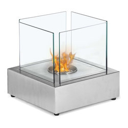 """Ignis Fireplaces - Ignis Cube, Tabletop Ethanol Fireplace - Say yes to warmth and comfort by adding this Cube Tabletop Ventless Ethanol Fireplace to any room. This compact tabletop fireplace is a freestanding unit that you can use on most table tops and that can be moved room to room if desired. It features a unique cube design that transforms it from functional tabletop fireplace to beautiful work of art. The glass-sided design of this unit allows you to fully experience the open flame provided by its 0.5-liter burner insert. It will burn for up to two hours between refills and can be used indoors or outside on the deck patio or porch. Dimensions: 11.75"""" x 11.75"""" x 11.9""""."""