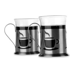 Berghoff - BergHOFF Cook & Co. 2-piece Coffee Cup Set - Enjoy a steaming cup of java with this handsome two-piece coffee cup set from BergHOFF. These drinking mugs are crafted from glass and sit in stainless steel holders, which feature die-cut images of freshly brewed cups of coffee.