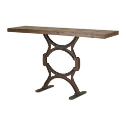 Currey & Co - Currey & Co 3022 Factory Rustic Console Table - The Currey & Co 3022 Factory Rustic Console Table is a rustic side table that can be used in a bedroom, living room, family room or even entrance. It is made from wood and wrought iron, has a rustic finish and is 60 inches wide and 35 inches high. A very reasonable price tag, along with its versatile, durable nature and decorative design, make this table a good buy for individuals from all walks of life.