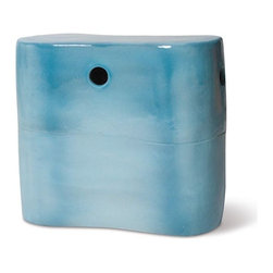 Seasonal Living Peanut Ceramic Garden Stool and Table - Not only is the color of this stool great but the peanut shape is playful and adds a different dimension to your outdoor decor.