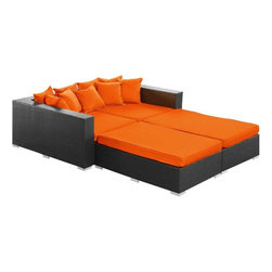 Modway - Palisades 4 Piece Daybed in Espresso Orange - Rejoice in the splendor of a completely formed outdoor bedding environment. View from afar as you silently take in the sights and sounds around you for proper effect. Make your initial movements toward transformation with this splendid flowing piece of absolution and resolve.