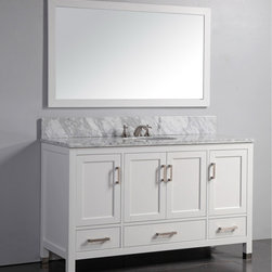 None - Marble Top 60-inch Single Sink White Bathroom Vanity with Matching Framed Mirror - Featuring a clean design and white solid oak wood cabinetry with soft-closing doors and drawers,this transitional bathroom vanity will add refinement to your bathroom. The marble counter top and included backsplash accent the white finish perfectly.
