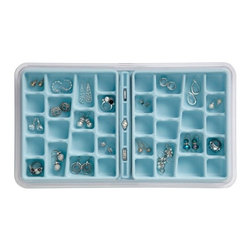 Neatnix - Jewelry Stax, 36 Compartment, Light Blue - Elegantly organize with our Neatnix jewelry stax 36-compartment tray. Each tray is made with a tarnish-resistant, velvety liner to protect your valuables. The 36-compartment tray is ideal for earrings, rings, and other smaller items. This modular tray stacks with other jewelry stax trays and slides for easy access to other trays. Each tray comes with a dust cover to minimize maintenance.
