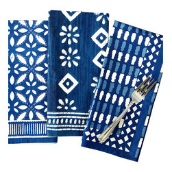 Indigo Batik Print Luncheon Napkins, Set of 3 - A garden party welcoming the first blush of spring. An evening soir�e in blue twilight, starlit and still. To both, the Indigo Batik Print Luncheon Napkins would bestow a vivid beauty and a certain joie de vivre. Bold in color and pattern, the napkins are composed of 100% cotton for a crisp and distinctive presentation.