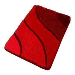 Plush Washable Red Bathroom Rugs, Small - Small plush bathroom rug. Sculpted red bath rug with a multi-level pile that is plush and stylish.  Durable .91in pile height that is warm, easy to care for and has a non-slip / non-skid backing.  Perfect for any bathroom.  Machine wash in warm water and fluff dry in a dryer. Made in Germany