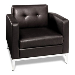 Ave Six - Espresso Faux Leather Wall Street Lounge Chair with Tufted Back - A button tufted back and a cube-shaped design give this faux leather armchair a retro appeal that will make it a beautiful addition to your home's decor. The sophisticated piece features espresso upholstery and a hardwood frame, as well as a modern steel base. Coordinating pieces are also available.
