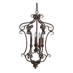 Aztec Lighting - Transitional 4-light Legacy Bronze Pendant - There will be an elegant atmosphere in your home when you add this gorgeous bronze pendant light. The aged crackle finish and stone accents on the column give this fixture a sophistication and beauty that will greatly enhance the decor of any room.