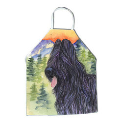 Caroline's Treasures - Briard Apron SS8319APRON - Apron, Bib Style, 27 in H x 31 in W; 100 percent  Ultra Spun Poly, White, braided nylon tie straps, sewn cloth neckband. These bib style aprons are not just for cooking - they are also great for cleaning, gardening, art projects, and other activities, too!