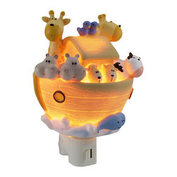 Children`s Noah`s Ark Night Light Nite Lite - This adorable night light features pairs of creatures aboard Noah`s ark, casting a soft glow in the dark in your child`s room or nursery. Made of cold cast resin, it measures 5 1/2 inches tall, 5 inches wide, and 2 inches deep. It has a 360 degree swivel plug to accommodate any outlet, and it uses a 7 watt (max) type C night light style bulb (included). The light has an on/off switch on the front, and is recommended for children ages 6 and up.