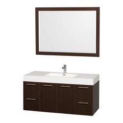 "Wyndham Collection - Wyndham Collection 48"" Amare Espresso Single Sink Vanity w/ Acrylic-Resin Top - Modern clean lines and a truly elegant design aesthetic meet affordability in the Wyndham Collection Amare Vanity. Available with green glass or pure white man-made stone counters, and featuring soft close door hinges and drawer glides, you'll never hear a noisy door again! Meticulously finished with brushed Chrome hardware, the attention to detail on this elegant contemporary vanity is unrivalled."