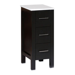 """Bosconi - 12"""" Bosconi AB1S Side Cabinet, Espresso - You asked for the perfect side cabinet, and you've found it! This 12"""" espresso Bosconi detached side cabinet is the best choice for quality and versatility. Use one or multiple to complete your space. Featuring three pull-out drawers each, this cabinet offers plenty of space for all of your bathroom needs."""