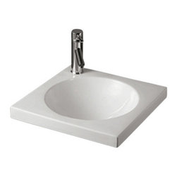 Whitehaus Collection - Whitehaus WHKN4061 Ceramic Square Above Mount Isabella Bathroom Sink Basin - Add style and class to your bathroom! This elegantly crafted modern bathroom sink spices up any setting making your bathroom a dream come true!