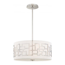 Minka George Kovacs - Minka George Kovacs Alecia's Necklace 3-Light Brushed Nickel Pendant - This 3-Light Drum shade Pendant is part of the Alecia's Necklace collection and has a Brushed Nickel finish and Etched Opal glass.