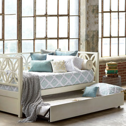 """Palu Ltd - Palu Bayview Daybed - The Palu Bayview daybed reimagines retro style for the contemporary interior. Forming mod floral shapes, overlapping circles accent clean lines for a chic geometric statement.  80""""W x 43.5""""D x 35.5""""H; Mindi wood"""