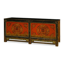"""China Furniture and Arts - Hand Painted Mongolian Cabinet - Exuberant and bold, the artwork on this cabinet displays the liveliness of Mongolian art. A definite conversation starter, the cheerful design represents the personality of Mongolian people who are passionate with life. Two double door compartments measuring 35.5""""W x 12.75""""D x 21.5""""H contain removable shelving for your storage convenience. Completely hand-constructed in Elmwood. Perfect for foyer, living room and media room (cable outlets can be made upon request). It is a one-of-a-kind item and will last for generations."""