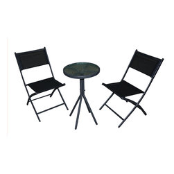 None - 3-piece Black Glass Table Bistro Set - This mosaic bistro set is easy to store by simply folding the chairs and legs of table. This set is ideal for your garden patio, conservatory, balcony, or courtyard.