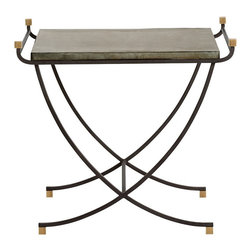 Arteriors - Felice Side Table - Arching natural iron braces and square vintage brass accent finials define the Felice table. The square distressed zinc top is highlighted with two arching rail details.