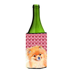 Caroline's Treasures - Pomeranian Hearts Love and Valentine's Day Portrait Wine Bottle Koozie Hugger - Pomeranian Hearts Love and Valentine's Day Portrait Wine Bottle Koozie Hugger Fits 750 ml. wine or other beverage bottles. Fits 24 oz. cans or pint bottles. Great collapsible koozie for large cans of beer, Energy Drinks or large Iced Tea beverages. Great to keep track of your beverage and add a bit of flair to a gathering. Wash the hugger in your washing machine. Design will not come off.