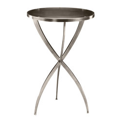 """Inviting Home - Tripod Table - Round solid brass occasional table with polished nickel finish 16"""" x 24""""H Round solid brass tripod table with polished nickel finish."""