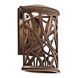 KICHLER - KICHLER 49249AGZLED Maya Palm LED Contemporary Outdoor Wall Sconce - This 1 light LED wall lantern from the free-form Maya Palm collection features a flattened, cylinder-shaped housing and palm-leaf-inspired accents. This Aged Bronze piece creates beautiful light patterns to grace your homes exterior. Rated for wet locations. Meets Energy Star, Title 24 and Dark Sky requirements. Photocell and bulb included.