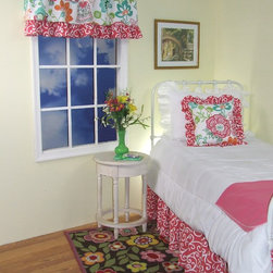 Razzle Dazzle Room view with valance, pillow & Dust Ruffle - Alicia R Dixon