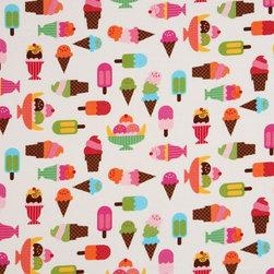 white fabric ice cream cups Robert Kaufman kawaii - white fabric ice cream cups