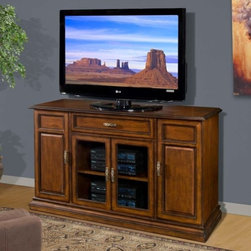 """Encore by Whalen - AVR-CS62_62"""" Television Console - Pictured in Walnut finish. Multiple wiring ports including large cable access. Removable back panels for easy access to components. Hand grips in all pieces make moving furniture safe & easy. Case levelers compensate for uneven floors. Shelving engineered for easy cable transit between components. Side mounted, full extension pull-out media storage libraries hold CDs & DVDs. Available patent-pending swivel floater flat panel television mounting system. Uniquely engineered ventilation system draws cold air from the floor through heat-generating components to keep components cool & prolong component life. Made of solid rubberwood. Assembly required. 62 in. W x 21 in. D x 36 in. H (167 lbs.)"""