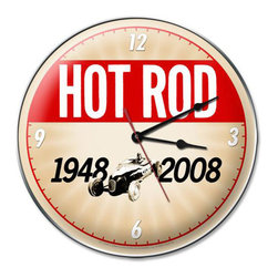 60th Anniversary Metal Sign Wall Decor 14 x 14  Clock - 60th Anniversary Metal Sign Wall Decor From the Hot Rod Magazine licensed collection, this 60th Anniversary Clock measures 14 inches by 14 inches and weighs in at 3 lb(s). This Clock is hand made in the USA using heavy gauge american steel and a process known as sublimation, where the image is baked into a powder coating for a durable and long lasting finish. This Clock includes an American made quartz Clock movement (requires one AA battery) for years of accurate time keeping and is covered with a clear acrylic lens.