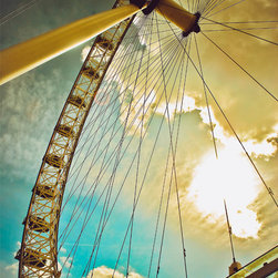 London Eye Sunburst-London, Fine Art Photography Print, 24X36 - This was taken in London Summer of 2012 during the Olympics. What an awesome city and AMAZING experience! I LOVE this photograph! very cool angle with sunburst and pop of turquoise in the sky!