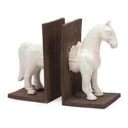 "IMAX CORPORATION - White Horse Bookend - Set of 2 - White Horse Bookend. Set of 2 in various sizes measuring around 11.25""h x 6.5""w x 14"" each. Shop home furnishings, decor, and accessories from Posh Urban Furnishings. Beautiful, stylish furniture and decor that will brighten your home instantly. Shop modern, traditional, vintage, and world designs."