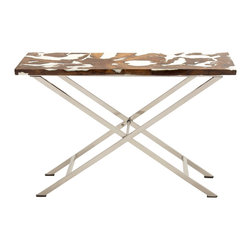 Distinctive Stainless Steel Teak Console Table - Description: