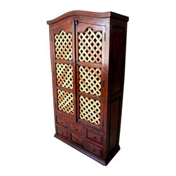 Two Tone Solid Wood Lattice Storage Armoire - Grand Solid Indian Rosewood Armoire with a large Cabinet and six storage drawers.