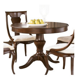 American Drew - American Drew Cherry Grove NG Pedestal Table in Mid Tone Brown - Pedestal Table in Mid Tone Brown belongs to Cherry Grove New Generation Collection by American Drew Cherry Grove New Generation line promises the same timeless quality and appeal with a full line of dining room, bedroom, home office, entertainment and occasional furniture. The line incorporates many elegant curves and graceful movement, and is updated with today's finishes, functionality and style. The inviting mid tone brown finish makes the cherry veneers pop on each piece, along with custom designed hardware. This line takes advantage of vertical space with higher case heights, and maximizes the utility of small spaces with hinged drop leaves on servers and tables. In combination, the collection takes functionality to a lifestyle level and allows urban or scaled-down living spaces to become entertainment areas, making small rooms work like big rooms. The New Generation of Cherry Grove is about honoring tradition while staying on trend. Pedestal Table Top (1), Pedestal Table Base (1)