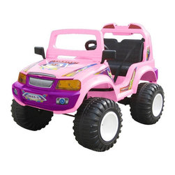 "CTM Homecare Product, Inc. - Off Roader Kid's Car - Features: -Kid's car. -Material: Plastic. -Windshield. -Sideview mirrors. -Music button. -Headlight. -Forward / reverse switch. -High / low speed switch. -Opened hood. -Seat belt. -Do not ride on grass, riders are intended to be used on smooth, level concrete surfaces. -3 Month parts warranty. Specifications: -Number of seats: 2. -Recommended age: 5 - 9 Years old. -Weight capacity: 110 lbs. -Speed: 3 - 7 km/h. -Charger: DC 12V. 1,000MA. -Charging time: Approx.10 hours. -Battery: (2) 6V. 12Ah. -Travel time: 90 - 120 min. -Motor: (2) DC 6V. -Overall dimensions: 48"" H x 33"" W x 32"" D, 59 lbs."