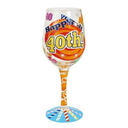 Westland - 9 Inch 40th Birthday Multi-Colored Celebration 15 Oz Wine Glass - This gorgeous 9 Inch 40th Birthday Multi-Colored Celebration 15 Oz Wine Glass has the finest details and highest quality you will find anywhere! 9 Inch 40th Birthday Multi-Colored Celebration 15 Oz Wine Glass is truly remarkable.