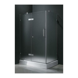 Vigo Industries - 36 in. x 48 in. Frameless Chrome Shower Enclosure with Base - Update your bathroom with this uniquely stylish and totally frame less Vigo rectangular-shaped shower enclosure. Clear PVC side gasket installs vertically onto door to ensure a water-tight seal between door and side panel when the door is in the closed position. Constructed of acrylic with fiberglass reinforcement this Vigo shower base features a double threshold textured bottom for added safety. Durable cross-linked cast acrylic shell is extremely scratch and stain resistant yet renewable because the color goes all the way through the material.