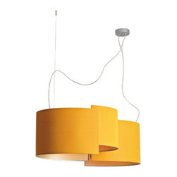 Pallucco Italia - Joiin 2 Suspension - Joiin 2 suspension features a series of individual shades that curve to form of two oval diffusers with steel cable structure. Up to three of these lampshades may be connected allowing their surfaces to interact, folding into itself like a ribbon of light. The textile used to cover the shade comes finely coated with tiny glass beads, appearing white like frost, when viewed from an angle. Shade color available in orange, silver grey, white and black. Available in a single suspension, wall sconce, table and floor lamp version. Four 23 watt 120 volt medium base compact fluorescent lamps not included. General light distribution. UL listed. Maximum overall height of 78.75 inches. 34.25W x 14.13H x 27.95D.