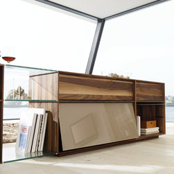 Lux Modern Walnut and Glass Sideboard - ​Lux modern sideboard cabinets embody pure luxury - the perfect accompaniment for open plan living.