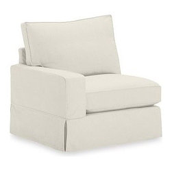 "PB Comfort Square Arm Corner SectionalSlipcover, Performance Tweed Graphite - Designed exclusively for our versatile PB Comfort Square Sectional Components, these soft, inviting slipcovers retain their smooth fit and remove easily for cleaning. Left Armchair with Box Cushions is shown. Select ""Living Room"" in our {{link path='http://potterybarn.icovia.com/icovia.aspx' class='popup' width='900' height='700'}}Room Planner{{/link}} to select a configuration that's ideal for your space. This item can also be customized with your choice of over {{link path='pages/popups/fab_leather_popup.html' class='popup' width='720' height='800'}}80 custom fabrics and colors{{/link}}. For details and pricing on custom fabrics, please call us at 1.800.840.3658 or click Live Help. Fabrics are hand selected for softness, quality and durability. All slipcover fabrics are hand selected for softness, quality and durability. {{link path='pages/popups/sectionalsheet.html' class='popup' width='720' height='800'}}Left-arm or right-arm{{/link}} is determined by the location of the arm as you face the piece. This is a special-order item and ships directly from the manufacturer. To see fabrics available for Quick Ship and to view our order and return policy, click on the Shipping Info tab above. Watch a video about our exclusive {{link path='/stylehouse/videos/videos/pbq_v36_rel.html?cm_sp=Video_PIP-_-PBQUALITY-_-SUTTER_STREET' class='popup' width='950' height='300'}}North Carolina Furniture Workshop{{/link}}."
