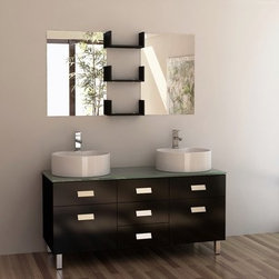 "Design Elements LLC - Wellington 55"" Double Sink Vanity Set in Espresso - The 55"" Wellington vanity set is about light, clean lines and geometric shapes. The simplicity of this design does not equate to boredom; rather, a well-balanced convergence of wood, glass, and porcelain work in unison to create a rich range of forms, hues, and textures.This vanity features solid hardwood construction, a water-resistant finish, tempered glass countertop, two round vessel sinks with chrome pop-up drains, two soft-closing cabinet doors, three pullout drawers, two mirrors and wall shelving."