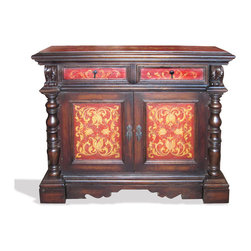 Koenig Collection - Old World Eclectic Buffet Ross, Distressed Fresco Red With Mahogany And Scrolls - Old World Eclectic Buffet Ross, Distressed Fresco Red with Mahogany and Scrolls