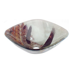Renovators Supply - Vessel Sinks Glass Square Vessel Sink American Bald Eagle - Square Vessel Sinks, Glass Vessel Sinks: Double Layer Tempered glass sinks are five times stronger than glass, 3/4 inch thick, withstand up to 350 F degrees,  can resist moderate to high degrees of impact & are stain��_��__��_��__��_��__proof. Ready to install this package includes FREE 100% solid brass chrome-plated pop-up drain, FREE machined 100% solid brass chrome-plated mounting ring & silicone gasket. Measures 16 1/4 in. W x 16 1/4 in. proj. x 5 1/2 in. deep x 3/4 in. thick.