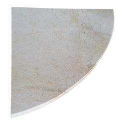 "Stone Zone - 8"" Marble Shower Corner Shelf (Crema Sunset) Stone Bathroom Caddy Soap Dish - Crema Sunset Marble Shower Corner Shelf"