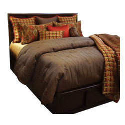 Joyce Coverlet Set, King - Chocolate textured duvet with Rust Red highlights in pillows and in the large Ashburn pattern gives a fun classy look to any room.